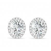 Oval Moissanite & Halo Diamond Stud Earrings 14k White Gold 3.82ct|escape