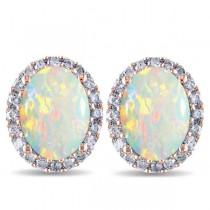 Oval Opal & Halo Diamond Stud Earrings 14k Rose Gold 2.60ct
