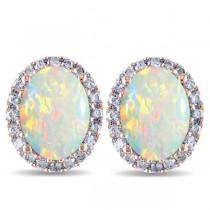 Oval Opal & Halo Diamond Stud Earrings 14k Rose Gold 2.60ct