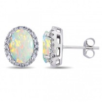 Oval Opal & Halo Diamond Stud Earrings 14k White Gold 2.60ct