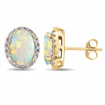 Oval Opal & Halo Diamond Stud Earrings 14k Yellow Gold 2.60ct
