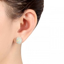 Oval Opal & Halo Diamond Stud Earrings 14k Yellow Gold 2.60ct