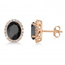 Oval Onyx & Halo Diamond Stud Earrings 14k Rose Gold 4.20ct