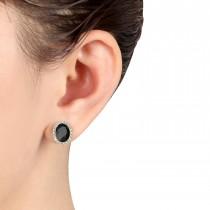 Oval Onyx & Halo Diamond Stud Earrings 14k Yellow Gold 4.20ct