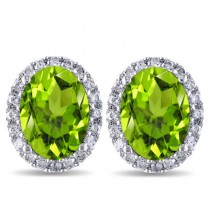 Oval Peridot & Halo Diamond Stud Earrings 14k White Gold 4.40ct|escape