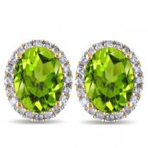 Oval Peridot & Halo Diamond Stud Earrings 14k Yellow Gold 4.40ct