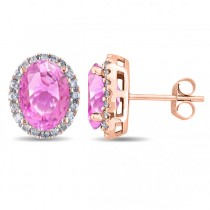 Oval Pink Sapphire & Halo Diamond Stud Earrings 14k Rose Gold 4.80ct