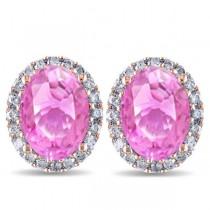 Oval Pink Sapphire & Halo Diamond Stud Earrings 14k Rose Gold 4.80ct