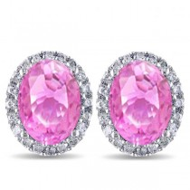 Oval Pink Sapphire & Halo Diamond Stud Earrings 14k White Gold 4.80ct