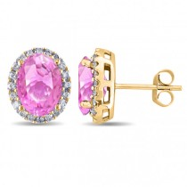 Oval Pink Sapphire & Halo Diamond Stud Earrings 14k Yellow Gold 4.80ct