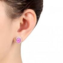 Oval Pink Sapphire & Halo Diamond Stud Earrings 14k Yellow Gold 4.80ct