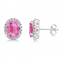 Oval Pink Tourmaline & Halo Diamond Stud Earrings 14k White Gold 5.00ct