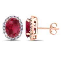 Oval Ruby & Halo Diamond Stud Earrings 14k Rose Gold 4.80ct