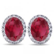 Oval Ruby & Halo Diamond Stud Earrings 14k White Gold 4.80ct
