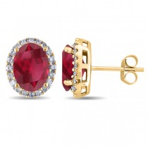Oval Ruby & Halo Diamond Stud Earrings 14k Yellow Gold 4.80ct