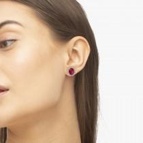 Oval Ruby & Halo Diamond Stud Earrings 14k Yellow Gold 4.80ct