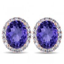 Oval Tanzanite & Halo Diamond Stud Earrings 14k Rose Gold 4.80ct
