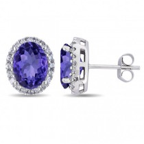 Oval Tanzanite & Halo Diamond Stud Earrings 14k White Gold 4.80ct