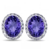 Oval Tanzanite & Halo Diamond Stud Earrings 14k White Gold 4.80ct