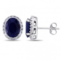 Oval Blue Sapphire & Halo Diamond Stud Earrings 14k W. Gold (5.70ct)