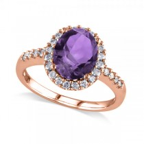 Oval Amethyst & Halo Diamond Engagement Ring 14k Rose Gold 2.82ct