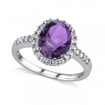 Oval Amethyst & Halo Diamond Engagement Ring 14k White Gold 2.82ct