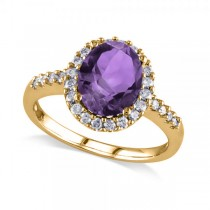 Oval Amethyst & Halo Diamond Engagement Ring 14k Yellow Gold 2.82ct