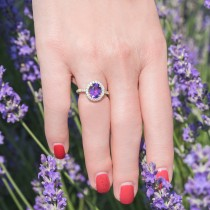 Oval Amethyst & Halo Diamond Engagement Ring 14k Yellow Gold 2.82ct