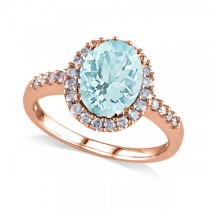 Oval Aquamarine & Halo Diamond Engagement Ring 14k Rose Gold 2.67ct