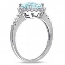 Oval Aquamarine & Halo Diamond Engagement Ring 14k White Gold 2.67ct