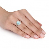 Oval Aquamarine & Halo Diamond Engagement Ring 14k Yellow Gold 2.67ct