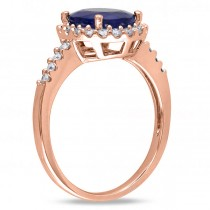 Oval Blue Sapphire & Halo Diamond Engagement Ring 14k Rose Gold 3.92ct
