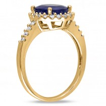 Oval Blue Sapphire & Halo Diamond Engagement Ring 14k Yellow Gold 3.92ct
