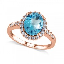 Oval Blue Topaz & Halo Diamond Engagement Ring 14k Rose Gold 3.92ct
