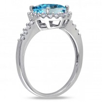 Oval Blue Topaz & Halo Diamond Engagement Ring 14k White Gold 3.92ct