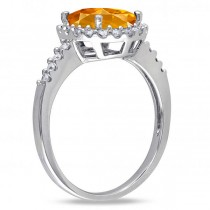 Oval Citrine & Halo Diamond Engagement Ring 14k White Gold 2.82ct