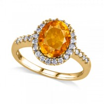 Oval Citrine & Halo Diamond Engagement Ring 14k Yellow Gold 2.82ct