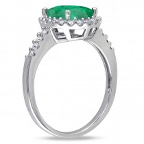 Oval Emerald & Halo Diamond Engagement Ring 14k White Gold 3.02ct
