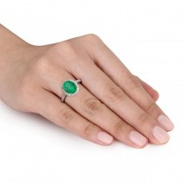 Oval Emerald & Halo Diamond Engagement Ring 14k White Gold 3.02ct