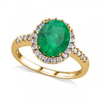 Oval Emerald & Halo Diamond Engagement Ring 14k Yellow Gold 3.02ct