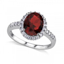 Oval Garnet & Halo Diamond Engagement Ring 14k White Gold 3.22ct