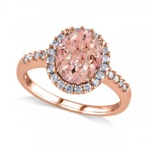 Oval Morganite & Halo Diamond Engagement Ring 14k Rose Gold 3.57ct