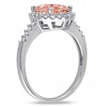 Oval Morganite & Halo Diamond Engagement Ring 14k White Gold 3.57ct|escape