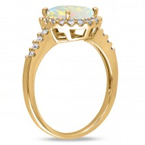 Oval Opal & Halo Diamond Engagement Ring 14k Yellow Gold 2.07ct