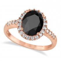 Oval Onyx & Halo Diamond Engagement Ring 14k Rose Gold 3.02ct