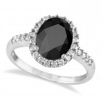 Oval Onyx & Halo Diamond Engagement Ring 14k White Gold (3.02ct)
