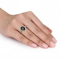 Oval Onyx & Halo Diamond Engagement Ring 14k Yellow Gold 3.02ct