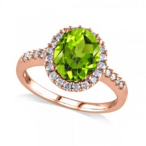 Oval Peridot & Halo Diamond Engagement Ring 14k Rose Gold 2.67ct