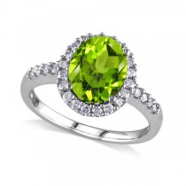 Oval Peridot & Halo Diamond Engagement Ring 14k White Gold 2.67ct
