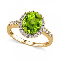 Oval Peridot & Halo Diamond Engagement Ring 14k Yellow Gold 2.67ct